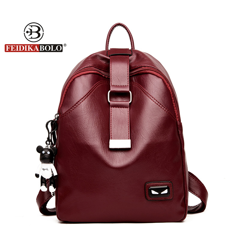 High Quality PU Leather Women Backpacks Cartoon Bear School Backpack For Teenager Girl Fashion Multifunction Travel Bag New 2018 zooler women s backpack eyes sequined designer black cartoon eyes backpacks travel bag cute shell backpacks for teenager girls