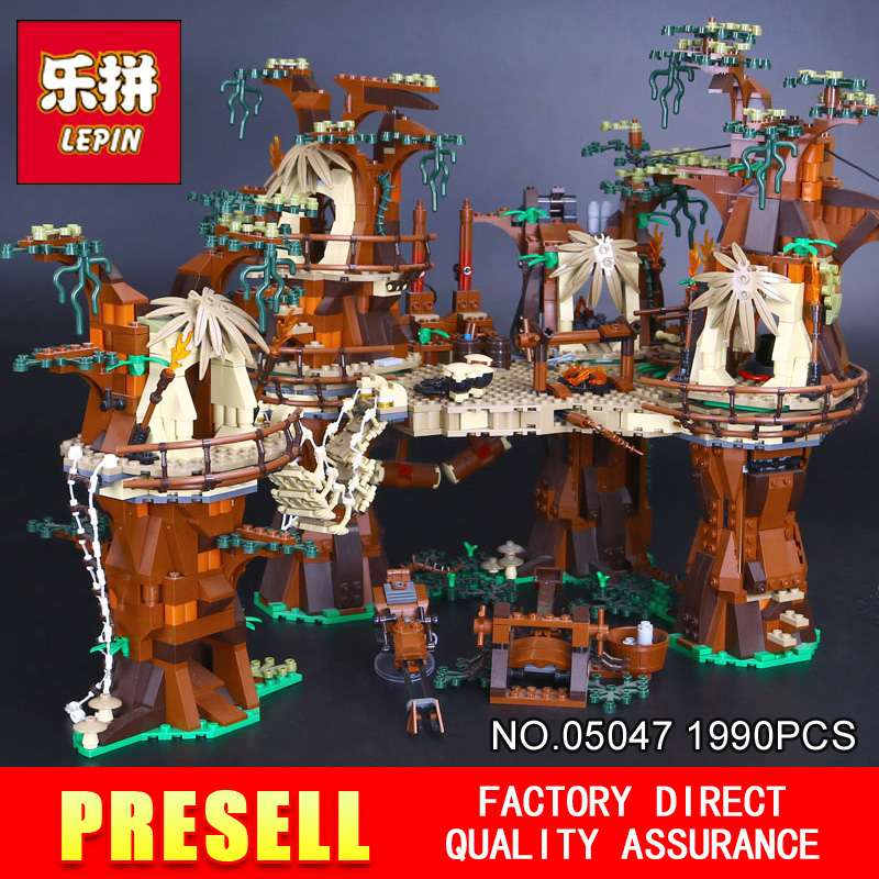 1990pcs Lepin 05047 Star Wars Ewok Village Building Blocks Juguete para Construir Bricks Toys Compatible for 10236 Boy's Gift dhl fast shipping 1990pcs lepin 05047 ucs ewok village building blocks juguete para construir bricks toys compatible 10236