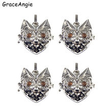 2PCS Owl Head Locket pearl beads cage essential oil diffuer lockets DIY Necklace Pendant Charms Open Closed Choker Necklaces(China)