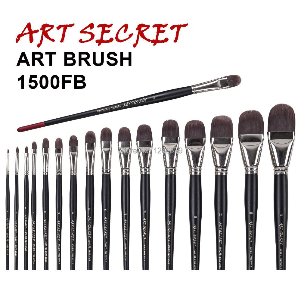 1500FB 1PC High Quality Taklon Hair Wooden Handle Paint Brushes Artistic Art Painting Brush For Oil And Acrylic Drawing