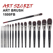 high quality paint brushes  free style oil watercolor acrylic brush 1500FB taklon hair long wooden handle