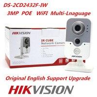 Hikvision Orijinal İngilizce Sürüm DS-2CD2432F-IW IP Kamera Dahili mikrofon 3MP POE Hikvision Küp Network Kamera