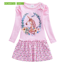 Girls dresses baby girl clothes cotton cute cartoon pattern girls unicorn dress long sleeve kids for