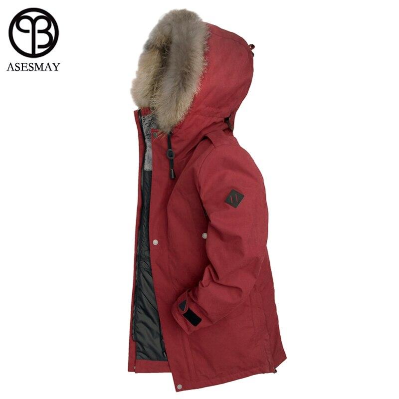 Asesmay 2018 nueva llegada de los hombres de invierno chaquetas de piel Natural abajo abrigos grueso Wellensteyn alta calidad ganso Parka chaqueta Casual