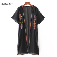 SheMujerSky Summer Chiffon Blouses 2017 Women Shirt Embroidery Long Kimono Cardigan Beach Clothing Ladies Tops