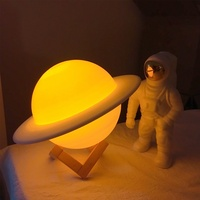 Saturn Moon Night Lamp 3D Printing Creative Children Baby Birthday Gift Table Lamp Bedside Rechargeable Battery Led Night Lights