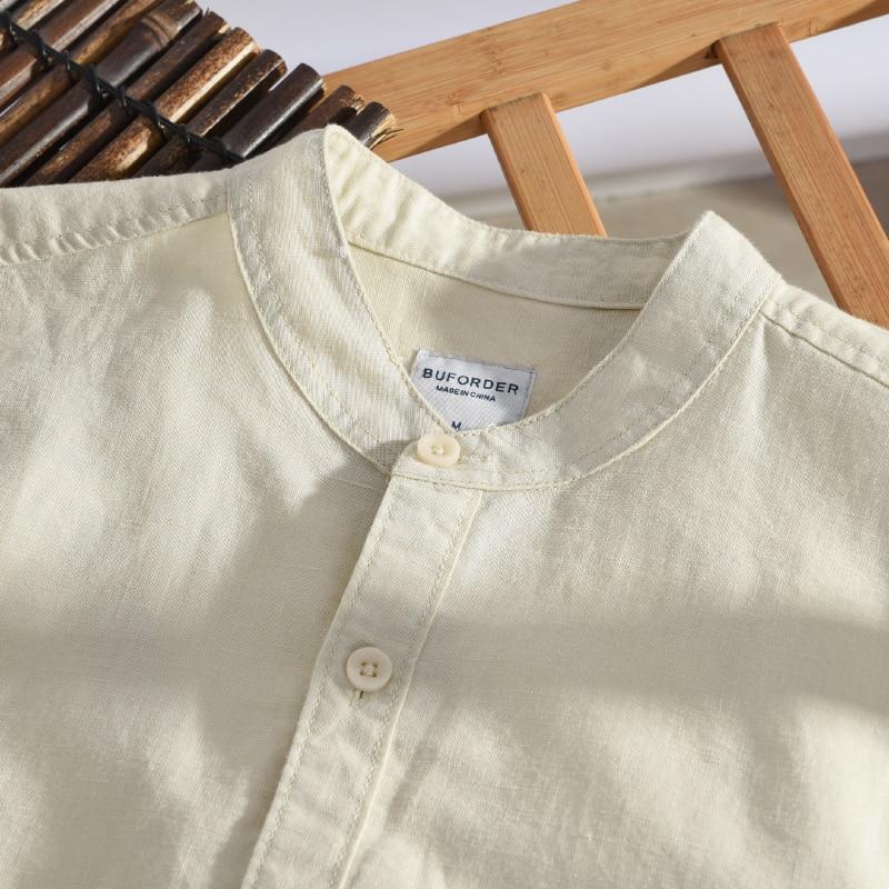 Italia Marca Suehaiwe's Moda Camisa de manga larga Hombre Lino - Ropa de hombre - foto 3