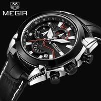 Top Brand MEGIR Men Sports Chronograph Watch Genuine Leather Men S Quartz Watches Male Military Wristwatch