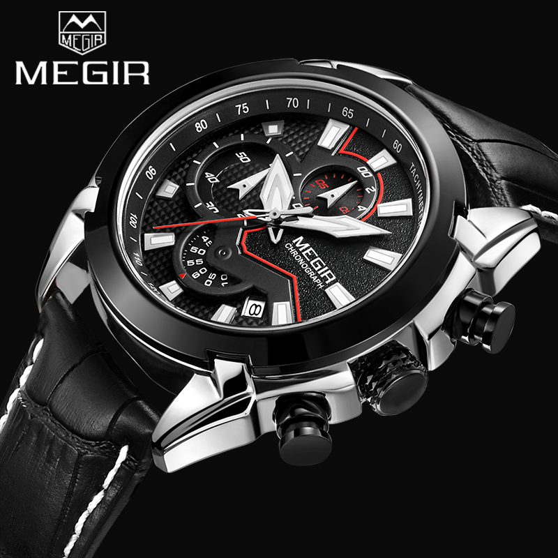 Top Brand MEGIR Men Sports Chronograph Watch Genuine Leather Men's Quartz watches Male Military Wristwatch Relogio Masculino new listing men watch luxury brand watches quartz clock fashion leather belts watch cheap sports wristwatch relogio male gift