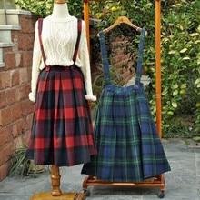 Japanese School Skirt Spring Autumn Preppy Style Woollen Pleated Plaid Vintage Mori Girl Overalls Suspender Skirts saias