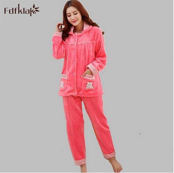 2017 New coral fleece pajamas women long sleeve thick warm winter pyjamas  sets pijamas mujer plus size flannel ladies sleepwear ef0ccc2d8