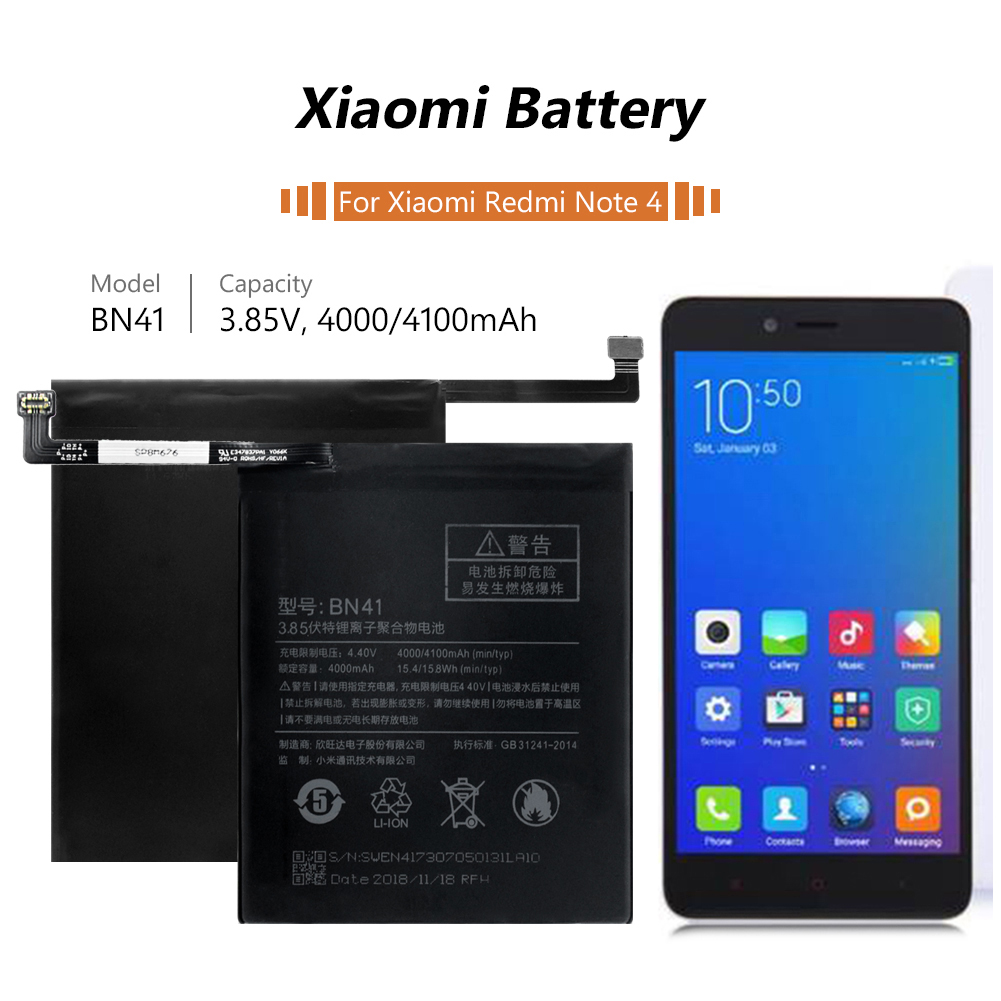 Rechargeable BN41 BN 41 BN 41 Battery 4100MAH Standard Battery Replacement For Xiaomi Redmi NOTE 4