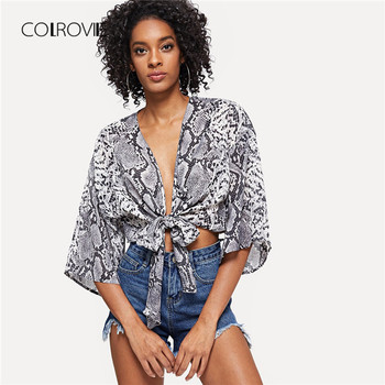 COLROVIE Knot Front Snake Skin Print V Neck Sexy Kimono Women Blouse Shirt 2018 Autumn Half Sleeve Vacation Blouse And Tops