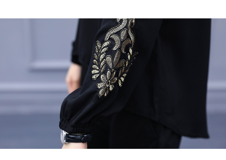 Spring Summer Two Piece Sets Women Plus Size Black Red Embroidery Long Sleeve Tops And Pants Suits Office Elegant Korean Sets 32