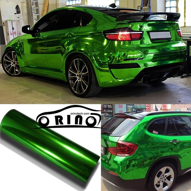 1.52x20m Roll Premium Stretchable Green Mirror Chrome Vinyl Wrap Car  Wrapping Chrome Film Chrome Green Foil Air Bubble Free bc7b40b78385