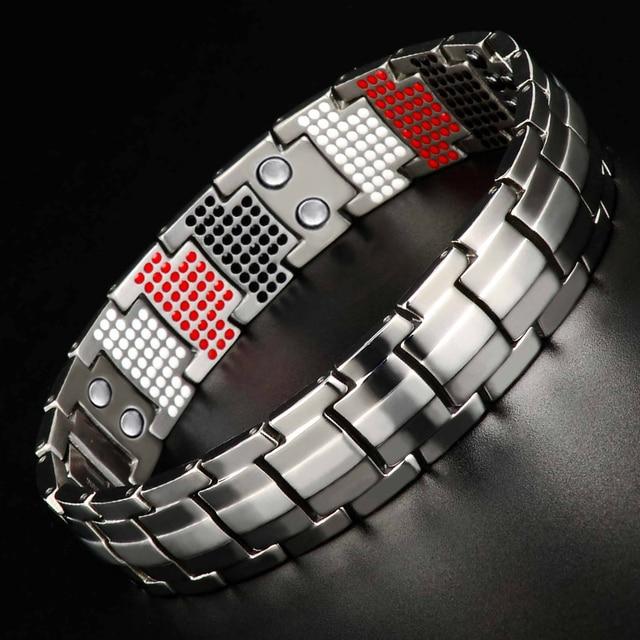 LITTLE FROG Men Jewelry Healing magnetic Bangle Balance Health Bracelet Silver Titanium Bracelets Special Design for Male 10212