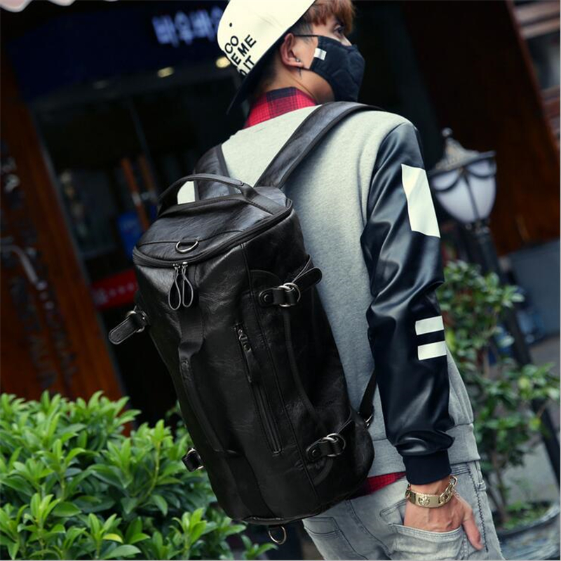 Sport Bag Backpack Gym Bag Fitness 3 Functions Shoulder Bags Handbag Soft PU Leather Waterproof Men Travel Duffel Package Tote