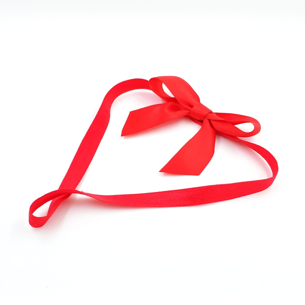 20pcs Free Shipping Red Satin Ribbon Pretied Ribbon Bow With Nylon Elastic Band For Christmas Gift Package Easy