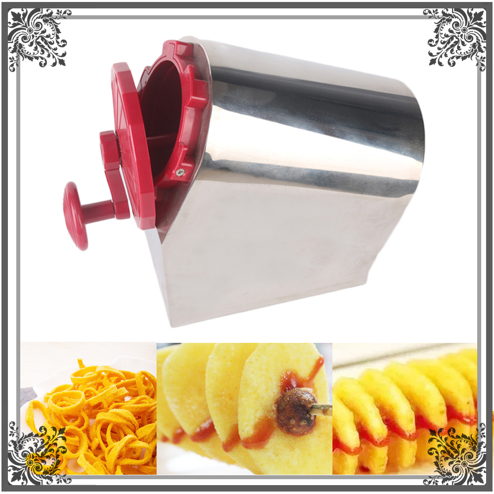 ITOP Manual Stainless Steel Spiral Potato Slicer Potato Tower Kitchen Tool Fruit & Vegetable Tool Potato Tower Cutter gqd kie 001 stainless steel kiwi slicer cutter rind removal tool silver