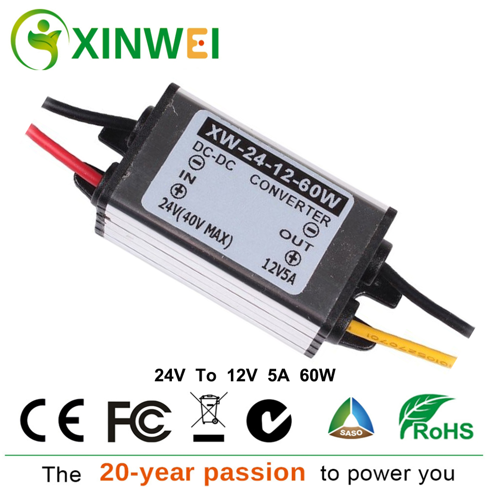 DC DC Converter 24V To 12V 5A 60W XINWEI Step Down Aluminum Voltage Regulators Stabilizers Suitable For Car Alarm Radio And EctDC DC Converter 24V To 12V 5A 60W XINWEI Step Down Aluminum Voltage Regulators Stabilizers Suitable For Car Alarm Radio And Ect