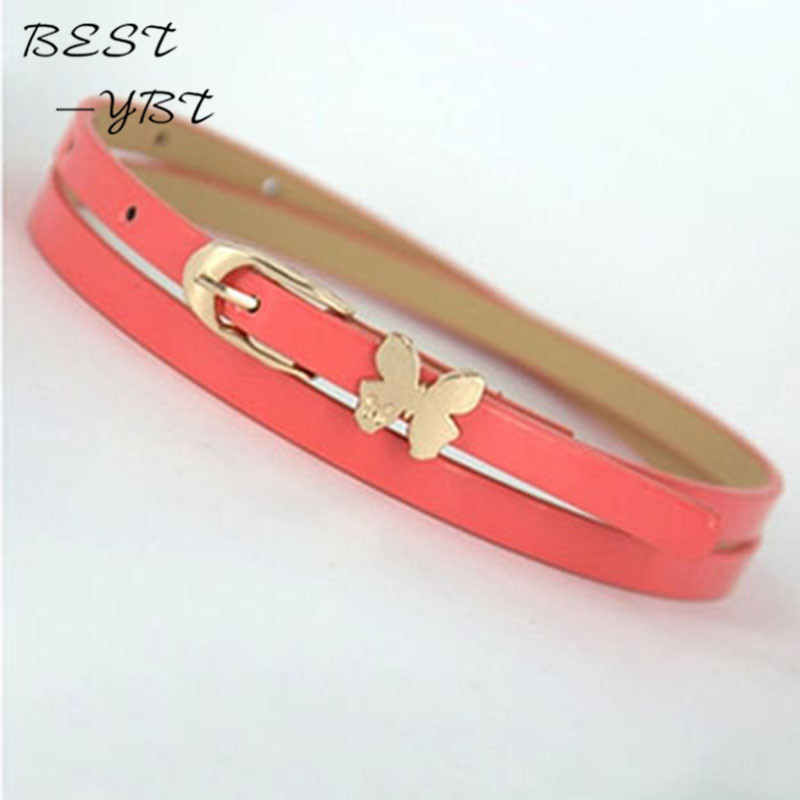 Female Models Korean Fashion Hit Color Wild Candy-colored Patent Leather Bow Thin Belt Decorative Belt Leisure Fluorescence