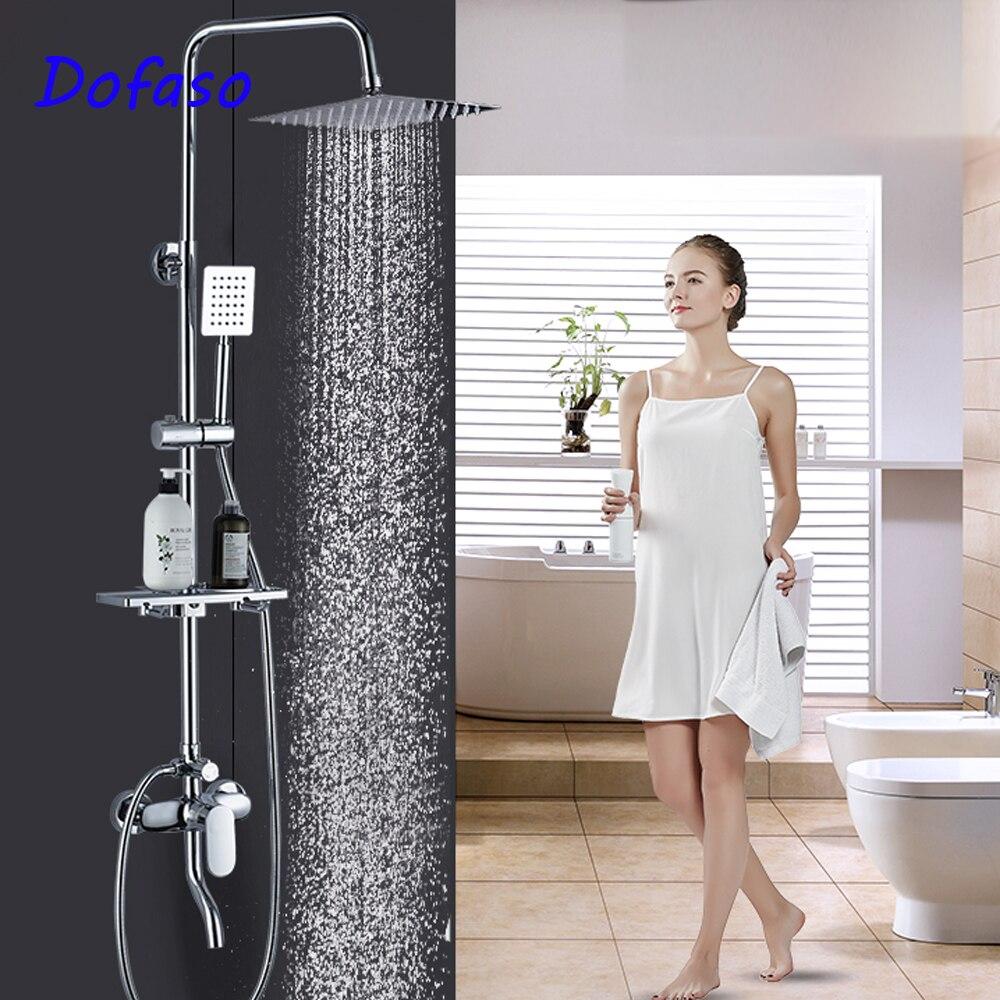 Dofaso qualité salle de bains inoxydable douche robinet avec carré pluie douche à main et pommeau de douche ensemble type