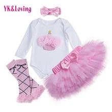 Birthday Cake Baby Girl Clothing Set Newborn Cotton bodysuits+Pink Tutu Skirt+Leg warmers+headband 4pcs/Sets Infant Clothes