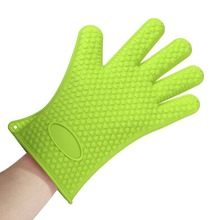 Gloves Heat Resistant Silicone Household Full Finger Anti Slip Gloves Oven BBQ Mitts Gloves Sigle
