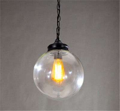 ФОТО wholesale vintage round ball glass pendent lightss E27 creative loft pendent lamp for dining room/bedroom/bar pendent light A125