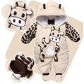 Mamelucos del bebé del Otoño Invierno Gruesa Ropa de Escalada Recién Nacido Niños Niñas Mameluco Caliente de Punto Suéter de la Vaca de la Navidad Con Capucha Outwear