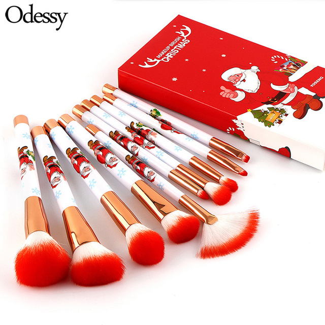 2018 Novelty Christmas Gift 10 pcs Santa Makeup Brushes High Quality  Holiday Present Cute Make Up Brush Set for Girl 5e5c5c7c79ce8
