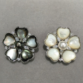 7-8MM 8-9MM natural black pearl  flower brooch pins sea water pearl tahiti pearl Romntic cute scarf buckle sea shell flower