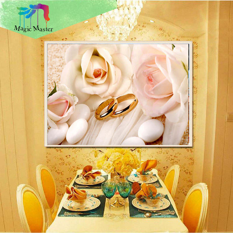 Products For Crafts Diy Diamond Embroidery Gole Ring Flower Painting Diamond Mosaic Kit 3D Picture Of Crystal Hobby decor FF216
