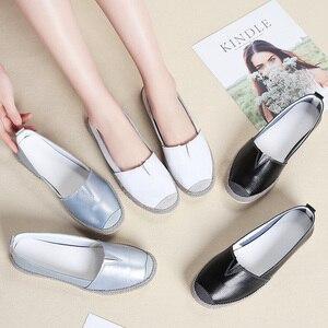 Image 5 - STQ 2020 סתיו נשים דירות עור אמיתי נעליים להחליק על מוקסינים נעלי נשים בלרינה בלט דירות סבתא ופרס 952