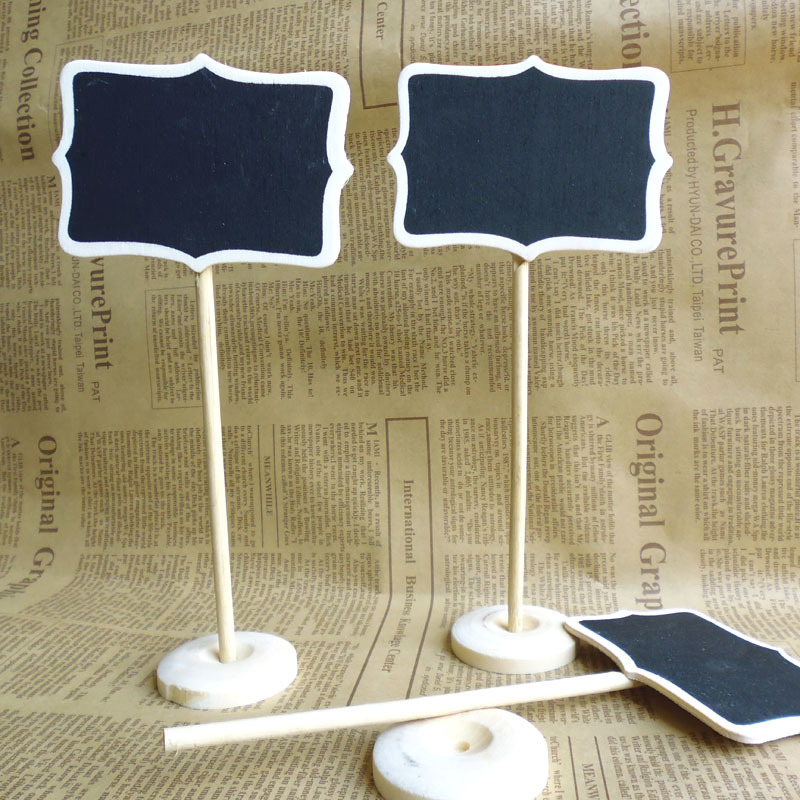 30pcs Mini Wood Chalkboard Blackboard Place Card Holder Notice Message Paint For School Event Office Decoration