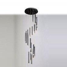 "28"" Dining Room Pendant Light Modern 22 Pcs Black Aluminum Tube Clear Crystal Cube Living Room Pendant Lamp"