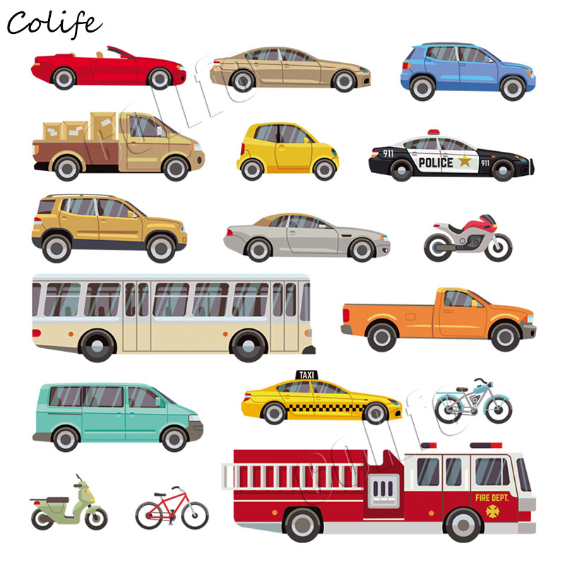 17pcs/lot Multiple Cars <font><b>Patches</b></font> For Children Badge Washable Stickers On Clothes DIY Heat Transfers Cool <font><b>Bus</b></font> Iron On Appliques image