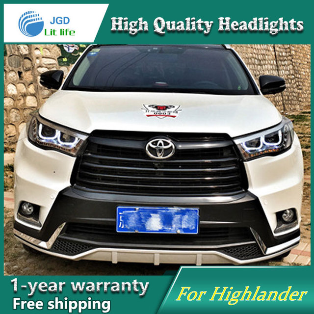 Car Styling Head Lamp For Toyota Highlander Headlights 2016 Led Headlight Double U Drl H7