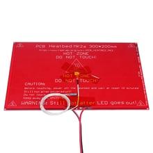 3d принтер части 300*200*2.0 MK2A MK2B RepRap Рампы 1.4 Heatbed MK2A со светодиодной резистор и кабель Для Мендель 3D принтер горячей постели