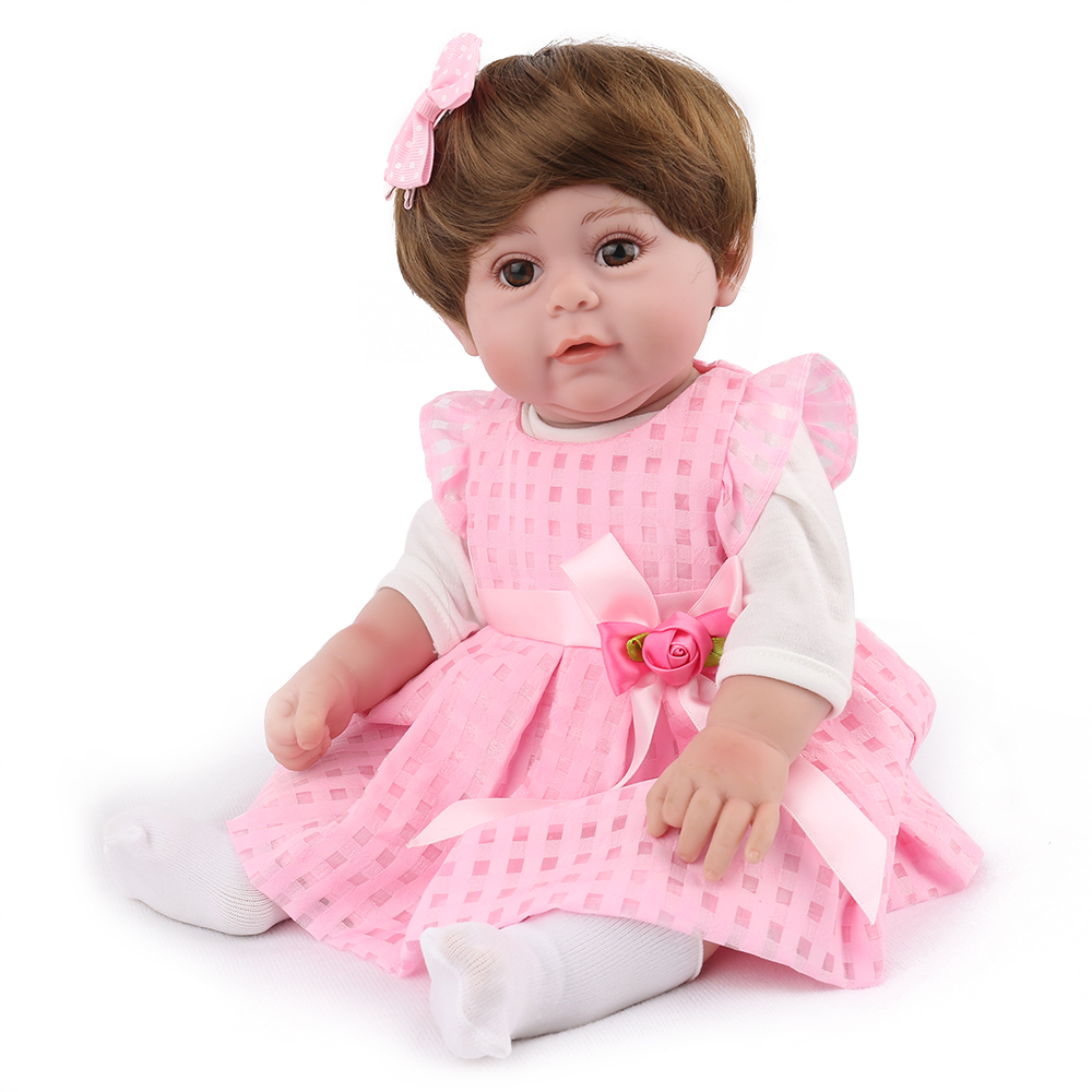 17''43cm Reborn Baby Girl Body Silicone Super Nice Pink Princess Baby Dolls Kids Boneca Reborn Diy Toys Truly With Short Hair