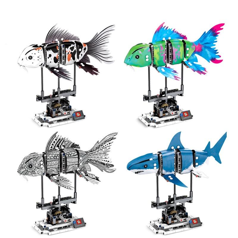 Children s building blocks toy Compatible city Koi fish deep sea giant shark DIY figures Bricks