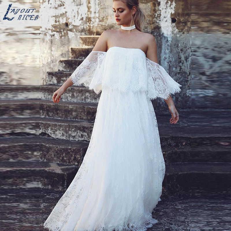 SHJ274 boho weselny strój 2019 koronka ślubna suknia ślubna plażowy płaszcz kąpielowy De Mariee Mariage Backless Vestidos De Novia