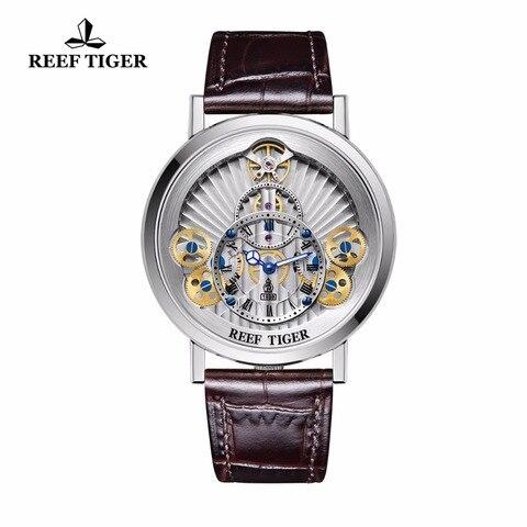 Relógios para Homens Pulseira de Couro Relógios de Quartzo Roda de Engrenagem Recife Tigre Designer Esqueleto Genuíno Rga1958 2019 – rt