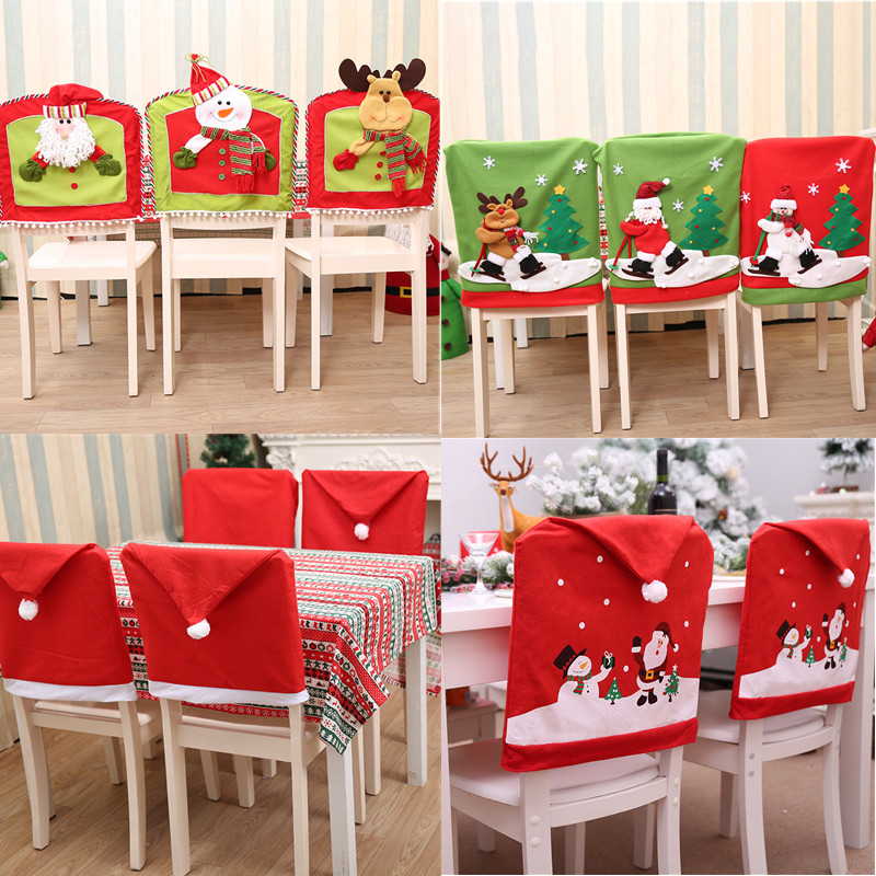 4 Pcs Christmas Santa Hat Snowman Chair Cover Party Home Dinner Table Decoration