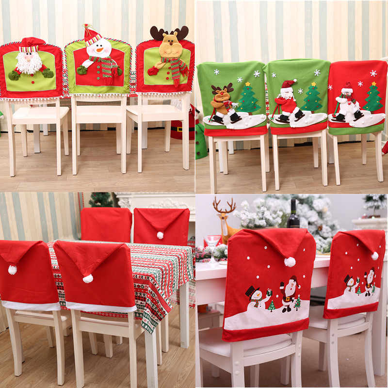 Astounding 1Pcs New Santa Claus Cap Chair Cover Christmas Dinner Table Machost Co Dining Chair Design Ideas Machostcouk