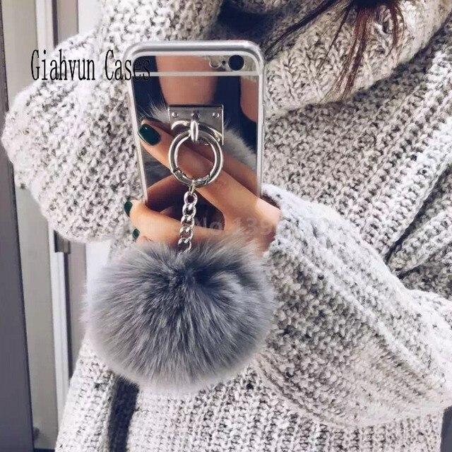 Srebrna Metalowa Lina Lustro Kitki miękkie puszyste ciepłe Fałszywy Futro Królika pompom Dla iPhone 6/6 S/6G telefon Skrzynki pokrywa