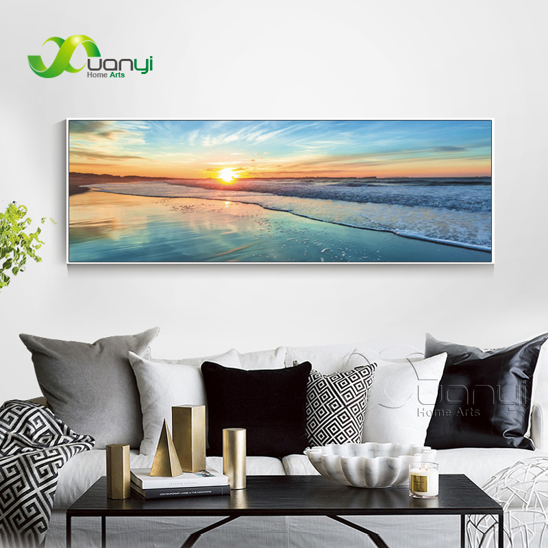 Single Ocean Prints Wall Art Canvas Sunset Seascape Paintings Home Decor Canvas Pictures For Living Room Modern Spray Unframed