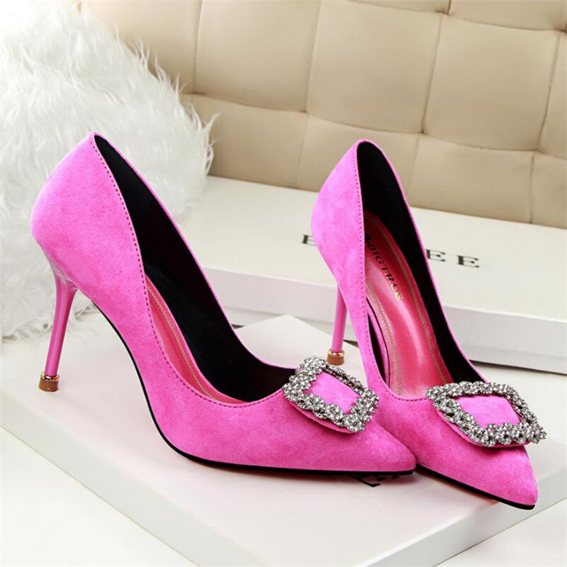 Temperament women 39 s shoes stiletto high heeled shallow mouth suede slim pedicure tip buckle rhinestone single shoes in Women 39 s Pumps from Shoes