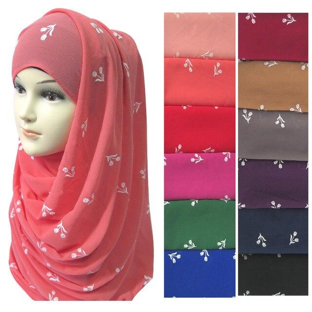 高品質厚いバブルシフォン花パフプリント女性のイスラム教徒イスラムヒジャーブスカーフショールヘッドラップ固体色