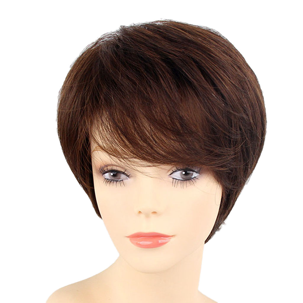 цена на Fashion Fringe Hairstyle Real Human Hair Wig Women Shaggy Short Straight Full Wigs with Oblique Bangs with Cap Natural Brown